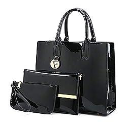 Handbags 3pcs Lacquered Shoulder Crossbody Bag For Women Casual Tote Messenger Bags Set Clutch Feminina