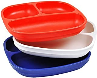 product image for Re-Play Made in USA 3pk Divided Plates with Deep Sides for Easy Baby, Toddler - Red, White & Navy Blue (Patriotic)