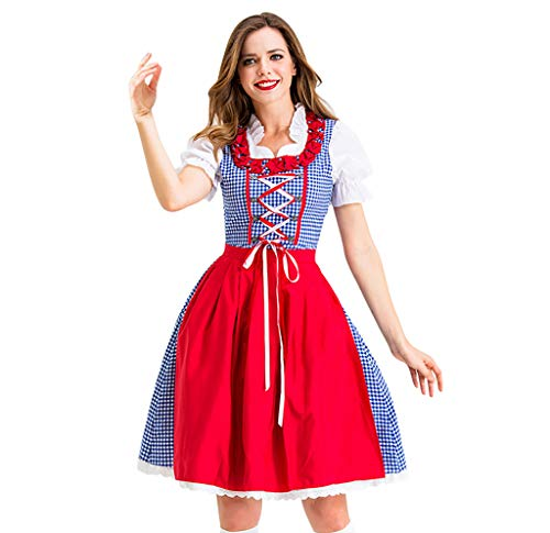 FEDULK Womens Halloween Costume Cosplay Dress Vintage Skirt Bavaria Beer Festival Lace Swing Maid Dress(Red, ()