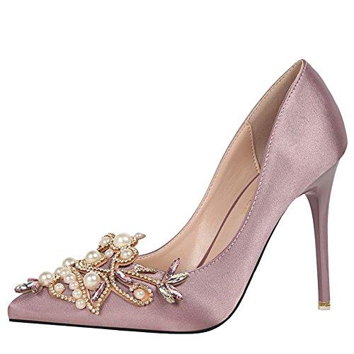 MissSaSa Damen elegant high heel Strass Pumps/Brautschuhe Lila