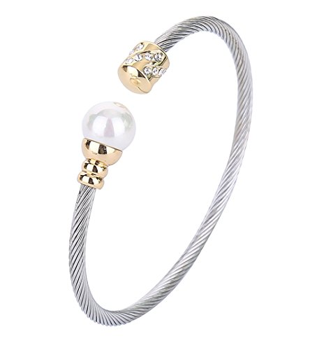 Monily 3MM Cable Wire Bracelet Stainless Steel Created-Pearl CZ Twisted Cuff Bangle for Women