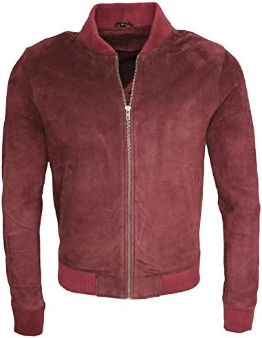 Infinity Mens Retro Burgundy Goat Suede Leather Bomber Varsity Jacket