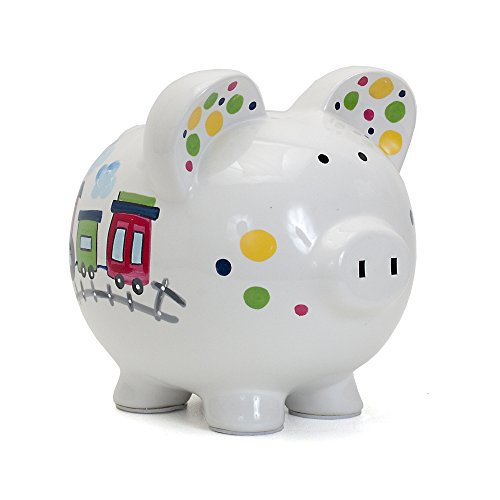 Child to Cherish Ceramic Piggy Bank for Boys, Choo Choo Transportation