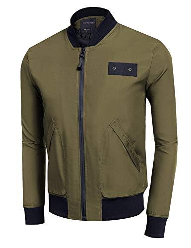 Pilot Jacket Jacket Patchwork Apparel Bomber Slim Winter Coat Long Lightweight Men grün Fit Stand Collar Sport Jacket Sleeve Armee Autumn Flight wn0fInzaq