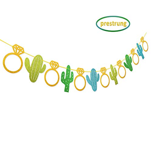 Kitticcino Fiesta Bachelorette Banner Cactus Wedding Garland Glitter Bridal Shower Engagement Bachelorette Party Favor Decorations -