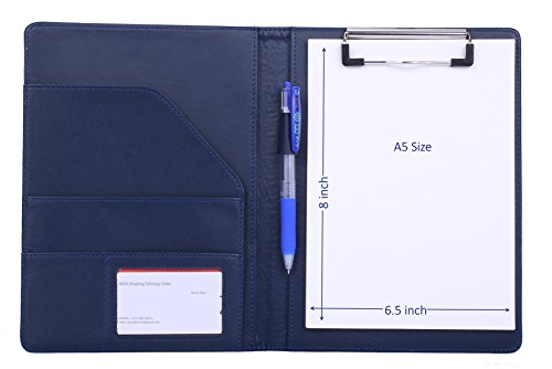 Small Padfolio Clipboard A5 Folder for Writing Pad Refillable 5 x 8 Note pad, Mymazn Faux Leather Clipboard Folder Junior Size Portfolio 5x8 Folio Clip Board (Leather Portfolio Clipboard)