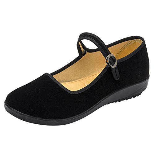 Seaintheson Flat Shoes for Women, Women's Soft Bottom Ballerina Ballet Flats Yoga Exercise Dance Shoes Hotel Plaza Shoes Black
