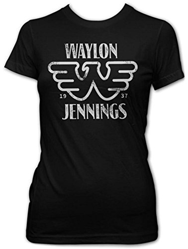 Juniors: Waylon Jennings- Distressed Logo Juniors (Slim) T-Shirt Size XL
