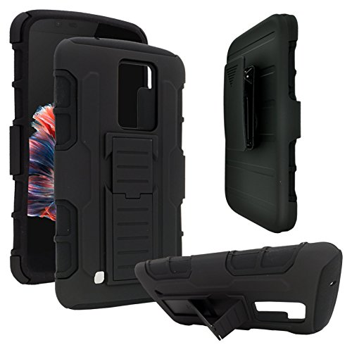 LG K10 Case, Rugged Impact Armor Hybrid Kickstand Cover with Belt Clip Holster Case for LG K10 Phone (Armor Black)