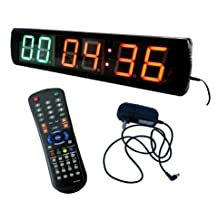 """BESTLED LED Fitness Interval Timer Wall clock 4"""" High Character LED Digital Countdown/up for Cross Fitness Multi-Function"""