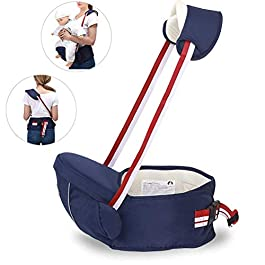 Hip Seat Baby Carrier with Safety Belt Protection, Pure Cotton, Lightweight Ergonomic Waist Stool,Multi Positions Baby…