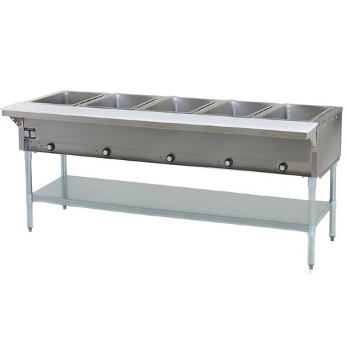 Eagle Group HT5-NG Hot Food Table 5 Wells 79 Length Galvanized Undershelf and Legs Natural Gas - Gas Steam Table 5 Wells