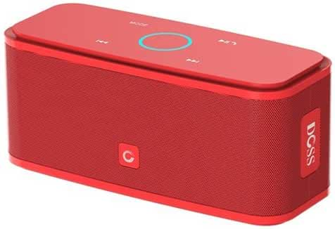 DOSS SoundBox Bluetooth 4.0 Portable Wireless speaker,Superior Sound quality with a powerful Subwoofer,sensitive touch control,Sleek and Modern Design,Build in Microphone[Color:Red]