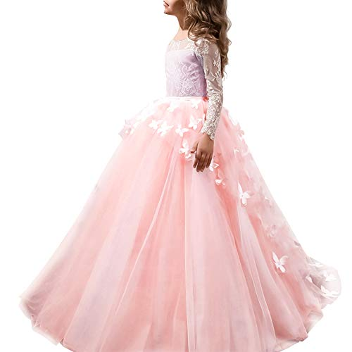 FYMNSI Flower Girls Lace Butterfly Appliques First Communion Dress Long Sleeves Princess Ball Gown Tulle Wedding Dress Pink 2-3T ()