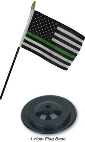 "USA American /& Thin Green Line USA  4/""x6/"" Flag Desk Set Table Stick Black Base"
