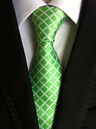 [MINDoNG Necktie Checks White Green JACQUARD WOVEN Men's Tie GAG # 33303] (James Bond Womens Costumes)