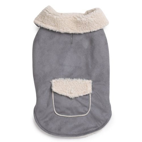 Zack and Zoey 10-Inch Classic Sherpa Dog Jacket, X-Small, Gray, My Pet Supplies
