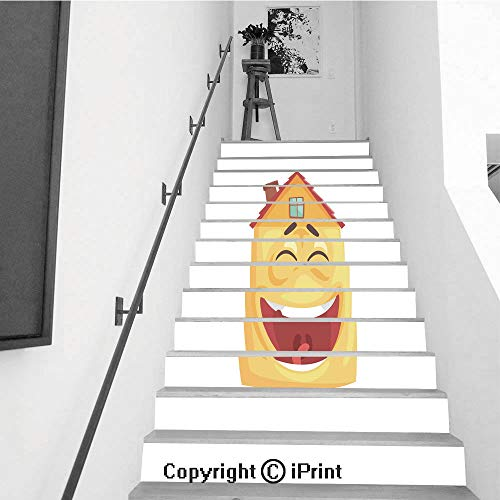 13Pcs Stair Sticker Decals 3D Creative Building Stair Risers Tiles Wallpaper Mural Self-adhesive,Cute house character laughing funny facial expression emoticon cartoon vector illustration