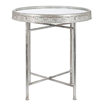 Tousmesmeubles Tisch Rund Silber Tablett Glas Tunis L 76 X L 76