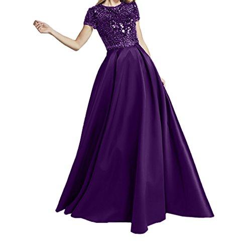 Ballkleider A Satin Pailletten Brautmutterkleider Abendkleider Linie Violett Navy Rock Festlichkleider Kurzarm Damen Charmant Blau vnUTaq0