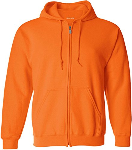 Joe's USA(tm Big & Tall Fleece Full-Zip Hooded Sweatshirt-SafetyOrange-M
