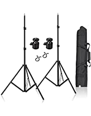"2pcs 80inch Adjustable Aluminium Alloy Light Stands with 1/4"" Mount Ball Head, Carrying Bag and Wire Harness Clips Vive Accessory for HTC Vive VR, Video, Portrait and Product Photography"