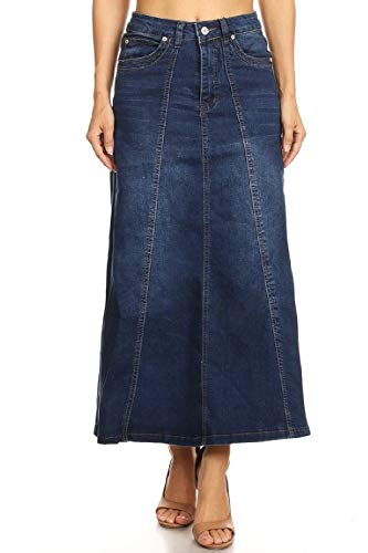 Womens Juniors Mid Rise A-Line Long Jeans Maxi Jeans Denim 8-Gore Skirt in Blue Size M ()