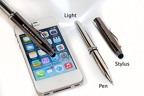 Elegant Multipurpose Ball Point Writing Pen with LED Light and Capacitive Stylus -- 3 in One. Chrome and gunmetal; black ink.