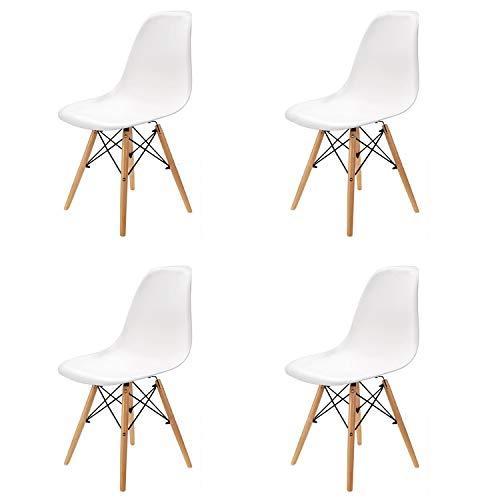 Juego de 4 sillasTulip para comedor/oficina con patas de haya maciza. Sillas de diseno sin brazos y acolchada para el maximo confort