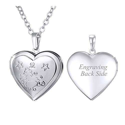 "U7 Women Girls Birthday Zodiac Sign Constellations Jewelry Engraved Heart Locket Pendant Necklace, Chain 22"" (Personalized Leo Locket Platinum Color)"