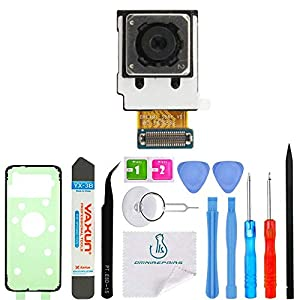 OmniRepairs-Rear Facing Glass Camera Lens Frame Assembly Replacement with Adhesive and Flash Diffuser For Samsung Galaxy S8 G950 and Repair Toolkit