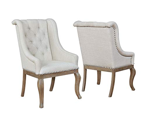 Glen Cove Arm Chairs with Button Tufting and Nailhead Trim Cream and Barley Brown (Set of 2)