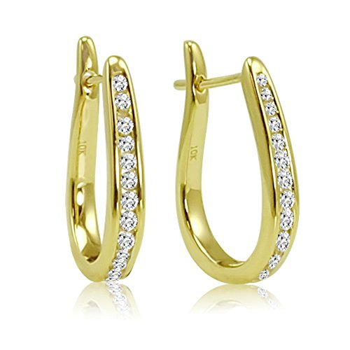 AGS Certified 1/4ct tw Diamond Hoop Earrings in 10K Yellow Gold (10k Gold Diamond Earrings)