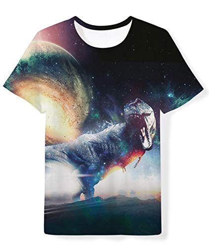 - School Boys Girls Graphic Short Sleeve Tee Shirts Funny Cool Galaxy Dinosaur Tops Shirt Summer Quick Dry Outfit 14-16 Years