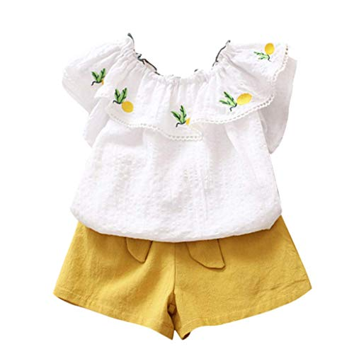 VEFSU Fashion Toddler Kids Baby Girl Floral Off Shoulder Pineapple Tshirt Tops Short Pants Clothes Set Yellow 100cm