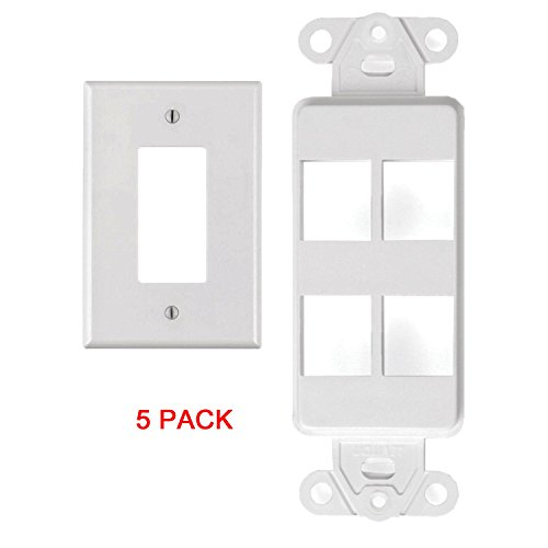 White 4 Port Decora Keystone Snap-in Jack Modular Wall Insert Cover Plate (5/pk)