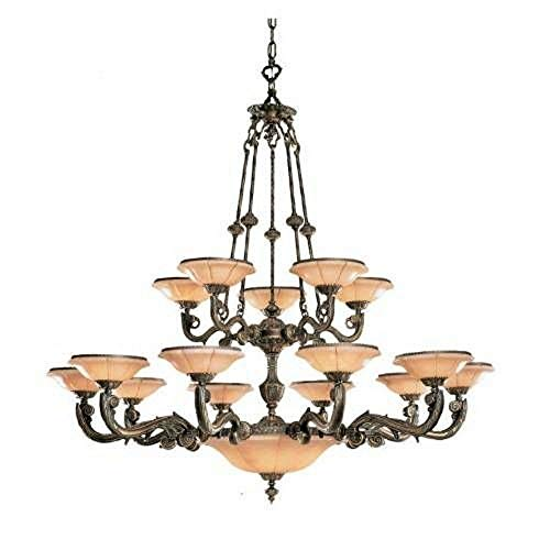 Crystorama 879-WH Natural Alabaster - Twenty Light Chandelier, Weathered Patina Finish with Alabaster Stone ()