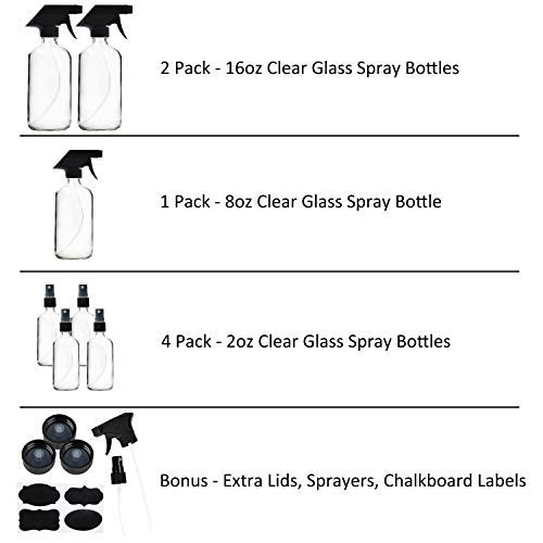 7 Pack Clear Glass Spray Bottles, 2 Pack 16 Ounce Empty Spray Bottles, 8 Ounce Glass Spray Bottle and 4 Pack 2 Ounce Glass Spray Bottles for Essential Oils, Cleaning Products, Aromatherapy, Mist Plant