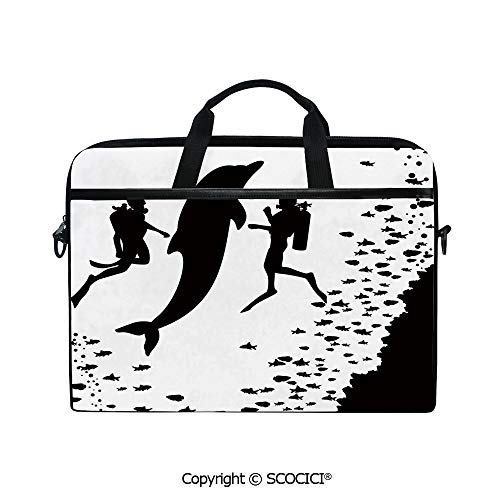 (Personalized Laptop Bag 14-15 Inch Messenger Bag Two Scuba Divers and Giant Fish Silhouette Swimming Close to The Reef Monochrome Decorative Shoulder Sleeve Case Tablet Briefcase)