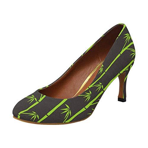 INTERESTPRINT Women's Elegant Office High Heels Pumps Shoes Green Bamboo 6.5 B(M) US