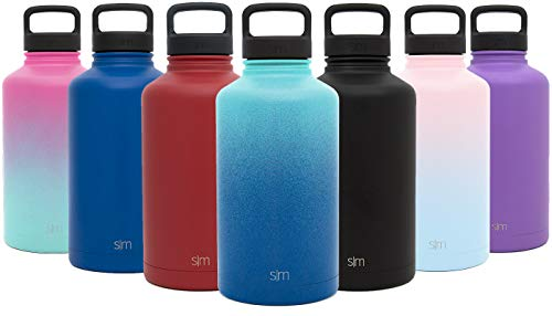 Simple Modern 64 oz Summit Water Bottle - Stainless Steel Half Gallon Flask +2 Lids - Wide Mouth Double Wall Vacuum Insulated Leakproof Ombre: Pacific Dream