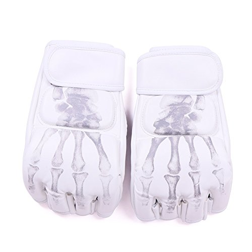 Boxing Gloves,soled Half Finger Boxing Gloves Sanda Fighting Sandbag Gloves MMA UFC (White with skull fingers)