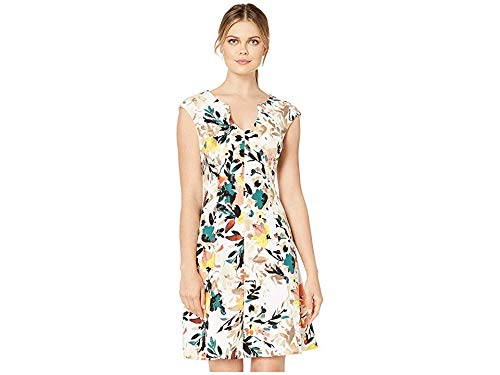 London Times Women's Painterly Bloom Fit & Flare Dress Soft White/Tan 4