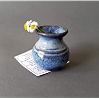 Miniature Bud Vase Flower Decor for New Mothers Day Ceramic Pottery Small Cornflower Blue Pot 2 in
