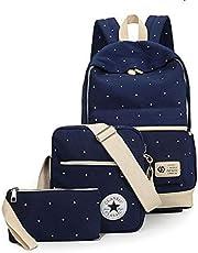 طقم حقائب 3 قطع للظهر والكتف، من قماش الكانفاس، عصرية، ومثالية للصغار كحقيبة مدرسة
