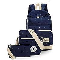 Canvas dot three pieces sets packbag fashion shoulder bag school bag junior SB06 blue