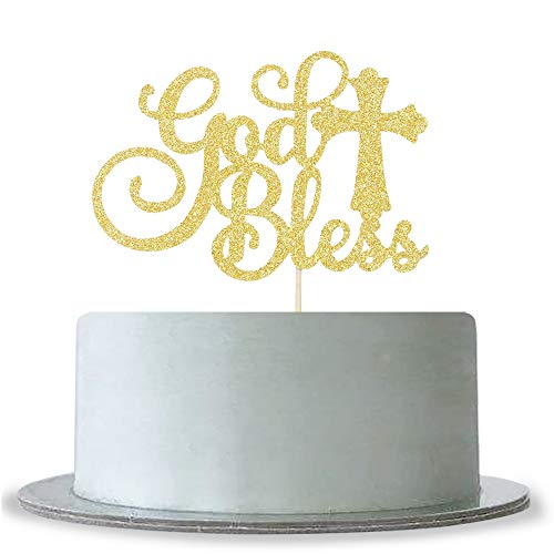 God Bless Cake Topper Gold Glitter First Communion Decorations Bless This Child