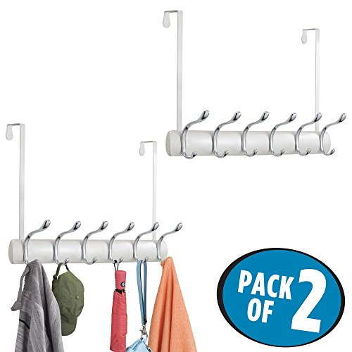mDesign Over Door 12 Hook Storage Organizer Rack for Coats, Hoodies, Hats, Scarves, Purses, Leashes, Bath Towels & Robes - Pack of 2, Pearl White/Chrome