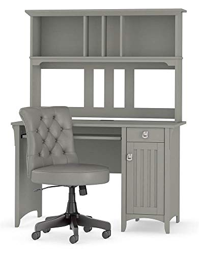 Bush Furniture Salinas 48W Computer Desk with Hutch and Mid Back Tufted Office Chair in Cape Cod Gray