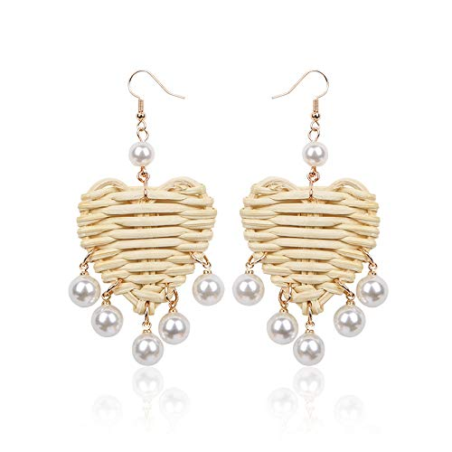 Pearl Heart Rattan Earrings for Women Girls Gift Handmade Straw Wicker Braid Woven Drop Dangle Earrings Summer Statement Fashion Jewelry - Handmade Pearl Earring Dangling